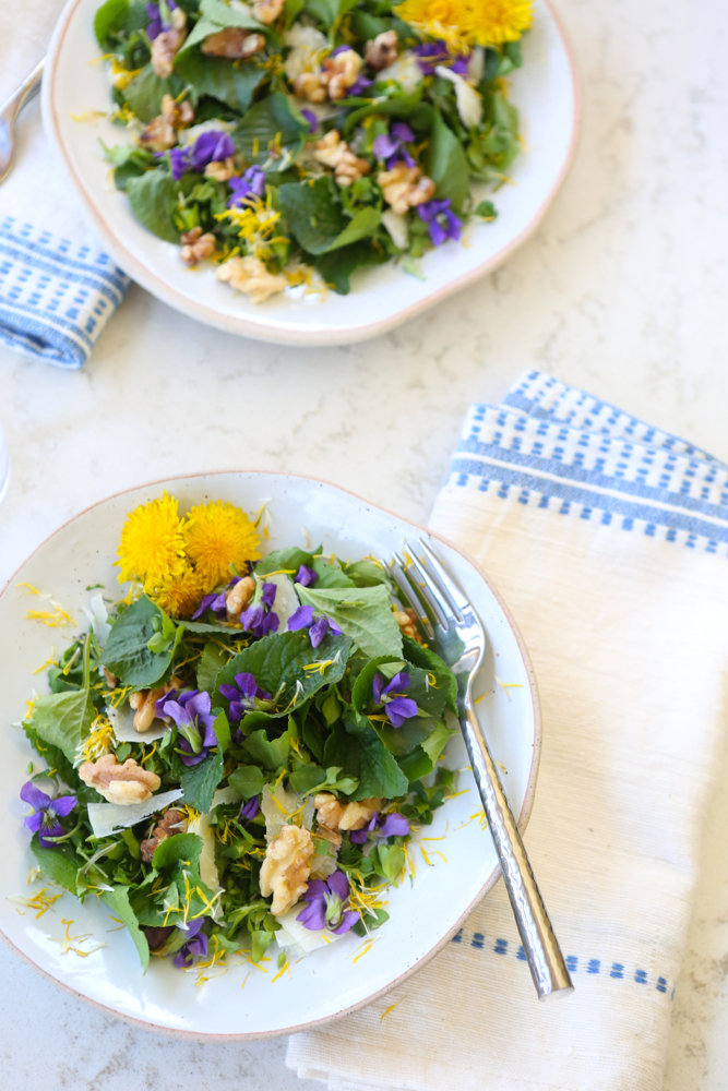 Violet and chickweed salad, garnished with dandelion flowers